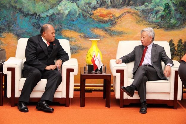 Figure 3:  H.E. Ambassador 'Uta'atu and President of the AIIB Mr Jin Liqun